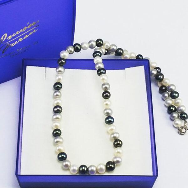 Collar Perlas Cultivadas Tricolor