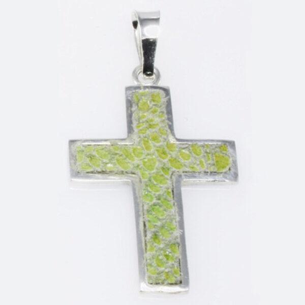 Cruz Plata y Piel Verde