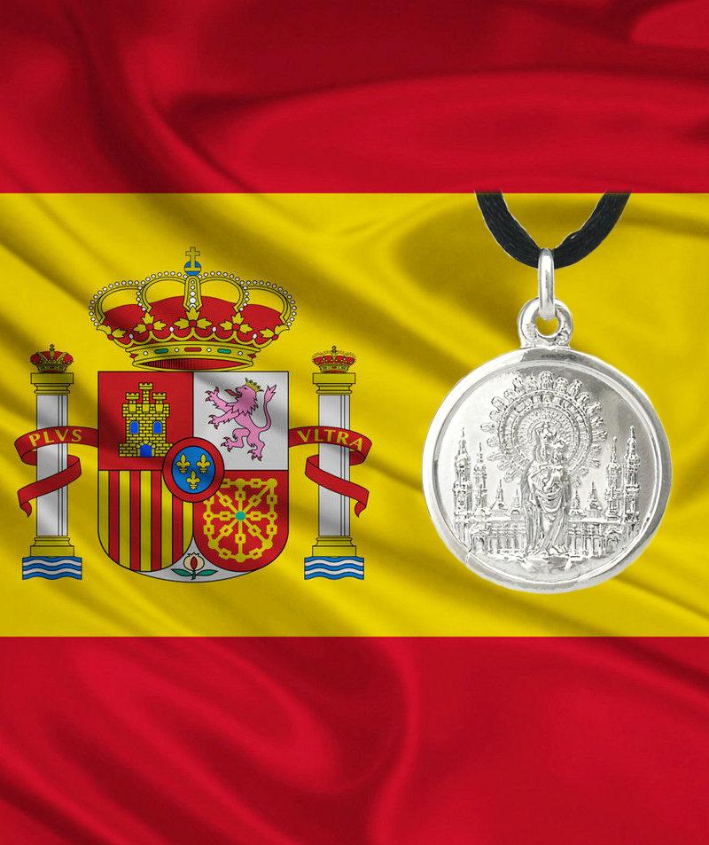 Medalla-virgen-Pilar-y-bandera España
