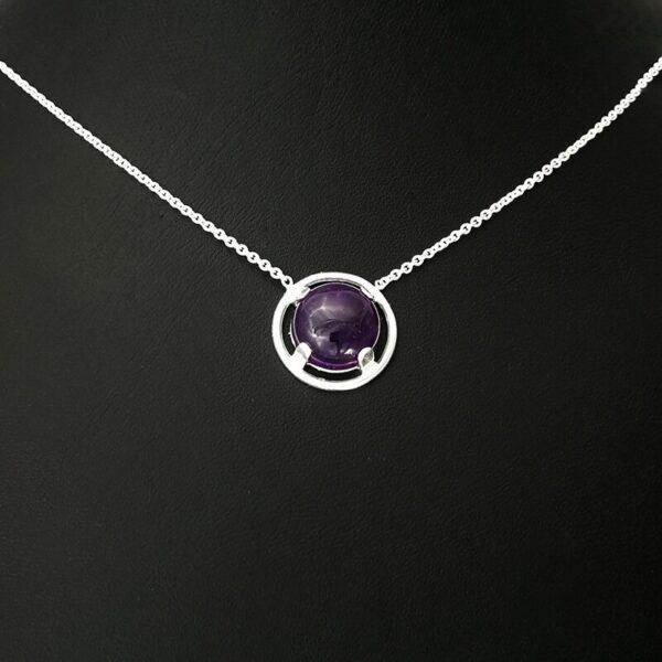 Collar plata Circulo y Piedra Cabujón