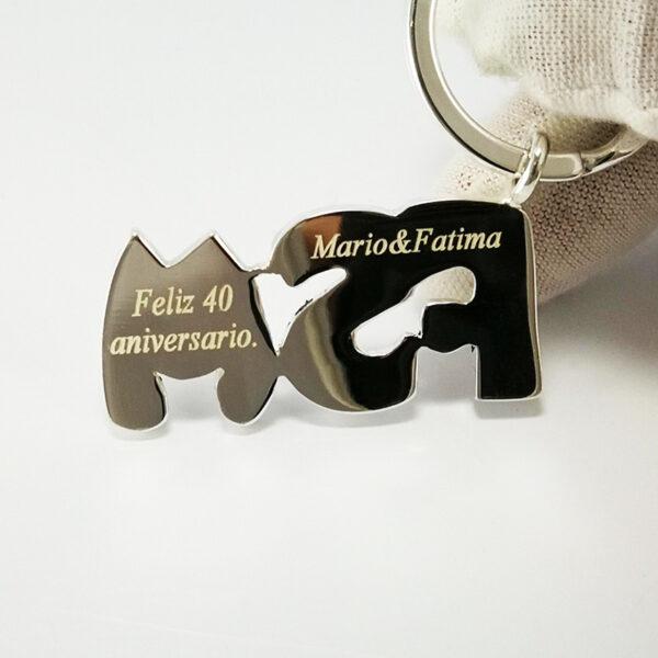 Llavero plata personalizado tres iniciales